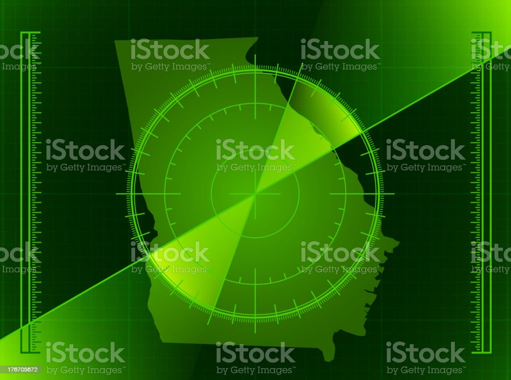 Green Radar Screen and Georgia State Map royalty-free stock vector art