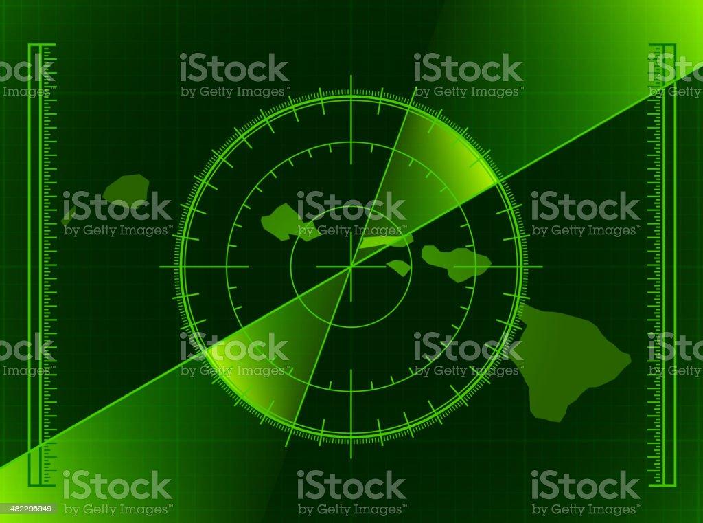 Green Radar Screen and Hawaii State Map royalty-free stock vector art