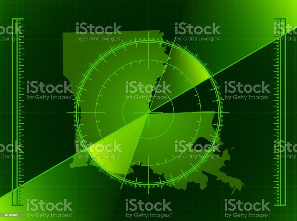 Green Radar Screen and Louisiana State Map vector art illustration