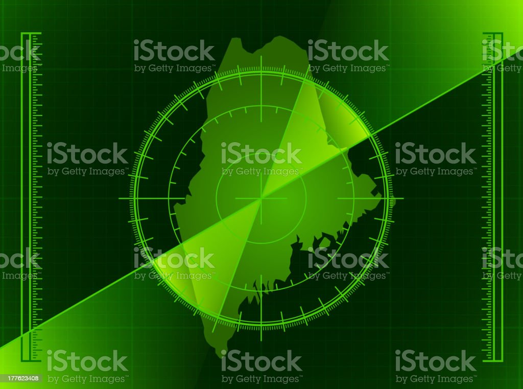 Green Radar Screen and Maine State Map royalty-free stock vector art