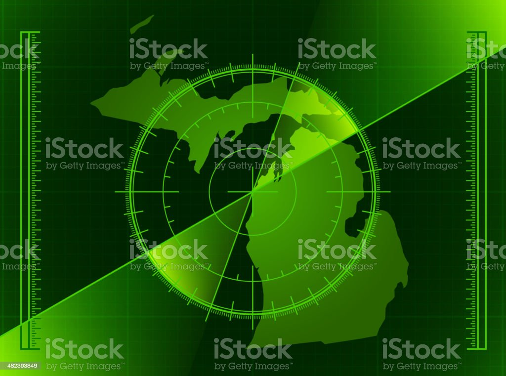 Green Radar Screen and Michigan State Map royalty-free stock vector art