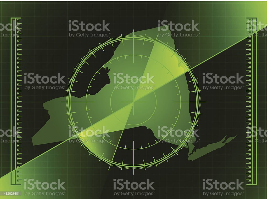 Green Radar Screen and New York State Map royalty-free stock vector art