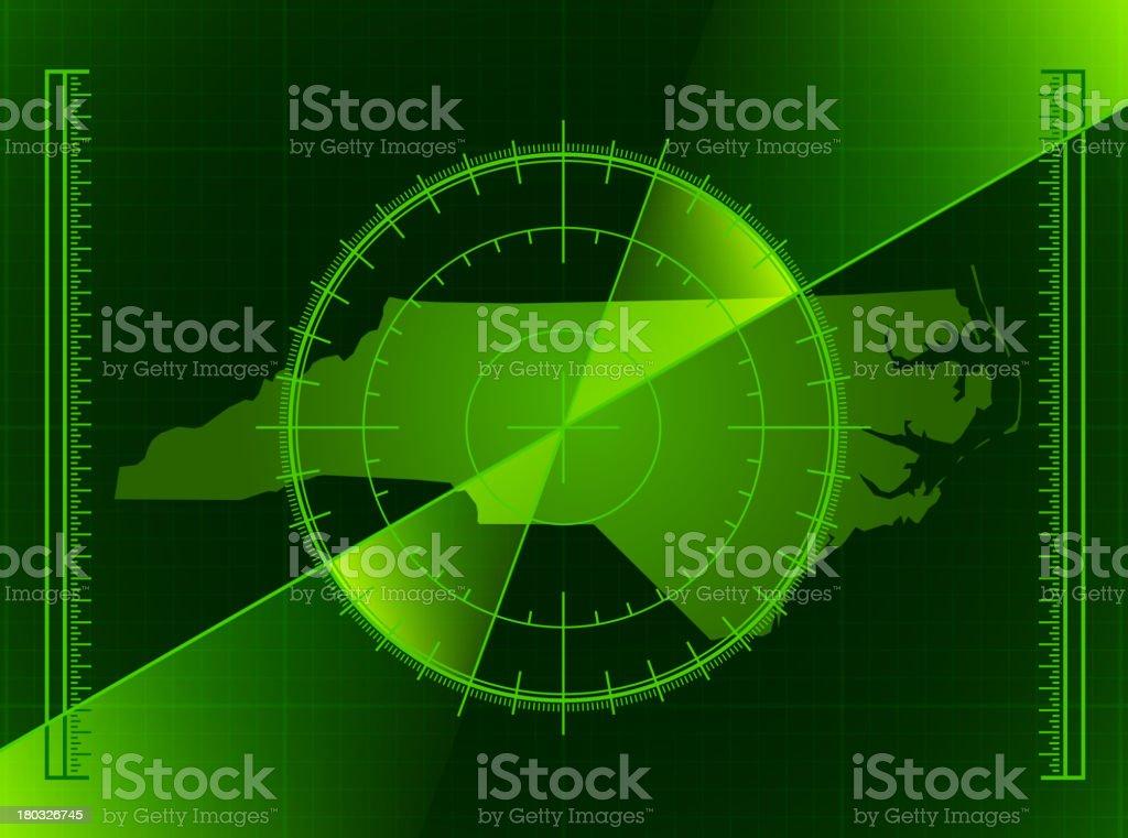 Green Radar Screen and North Carolina State Map royalty-free stock vector art