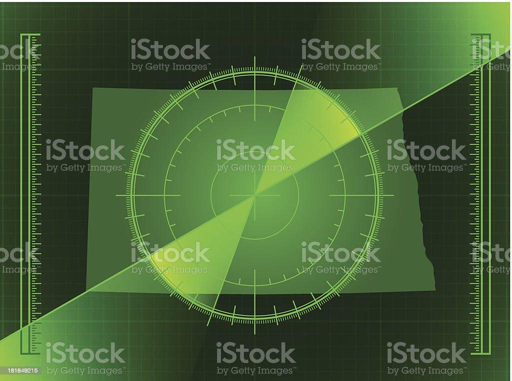 Green Radar Screen and North Dakota State Map royalty-free stock vector art