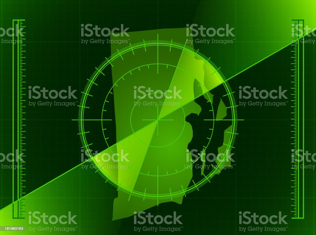 Green Radar Screen and Rhode Island State Map royalty-free green radar screen and rhode island state map stock vector art & more images of activity