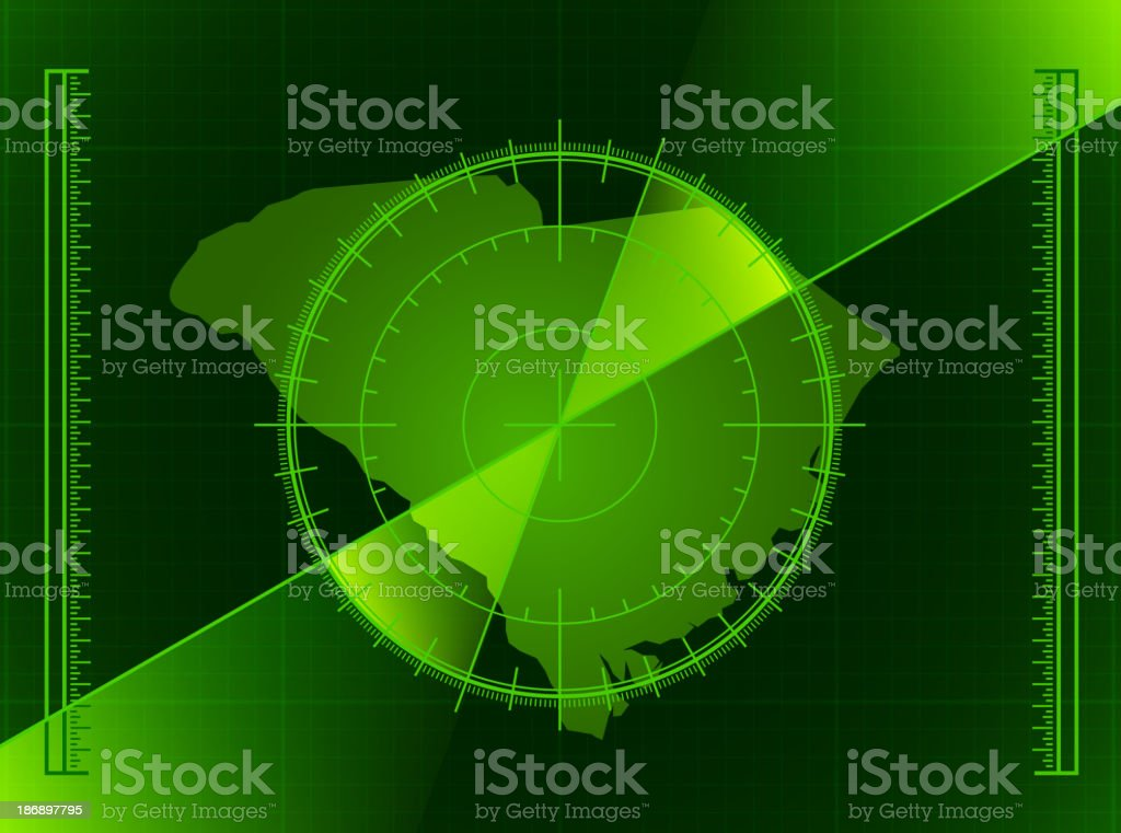 Green Radar Screen and South Carolina State Map royalty-free green radar screen and south carolina state map stock vector art & more images of activity
