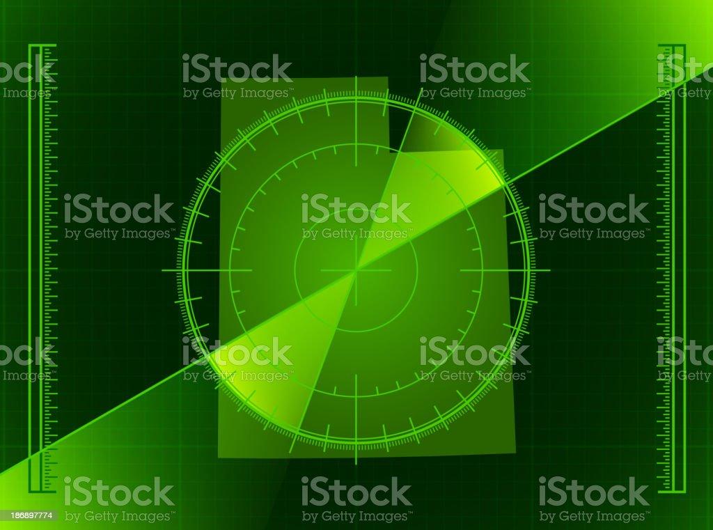 Green Radar Screen and Utah State Map royalty-free stock vector art