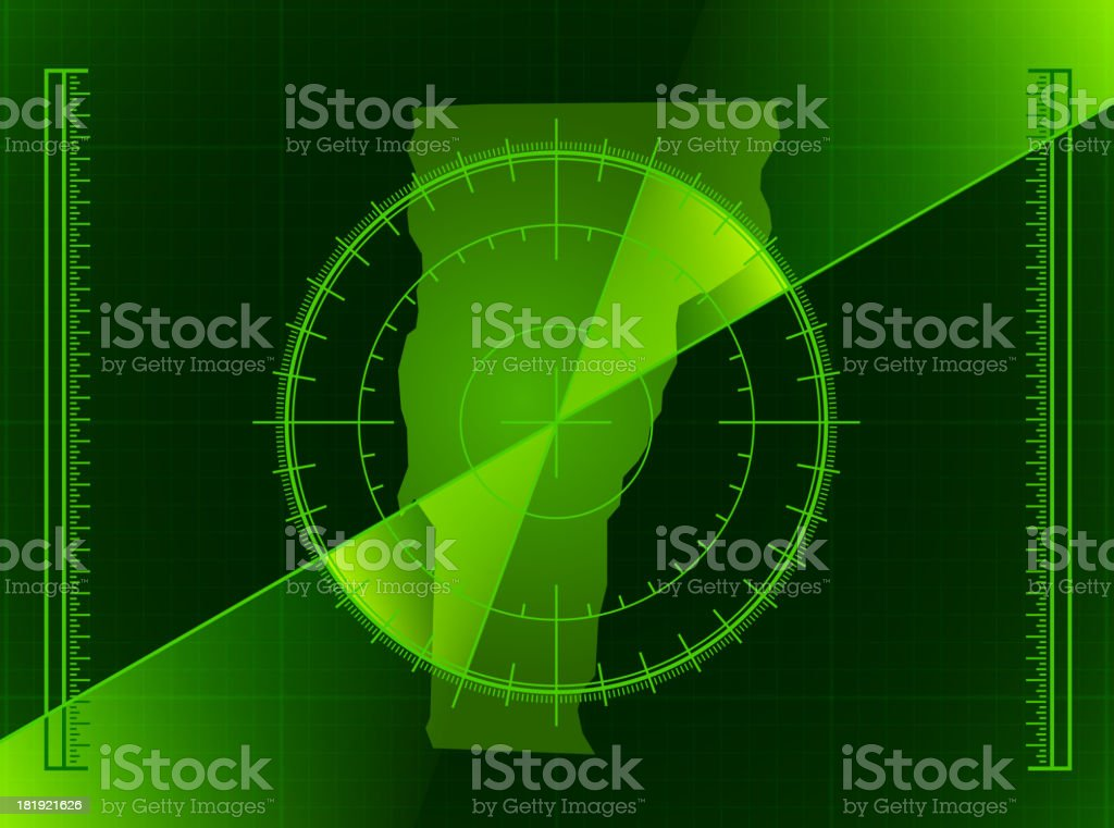 Green Radar Screen and Vermont State Map royalty-free stock vector art