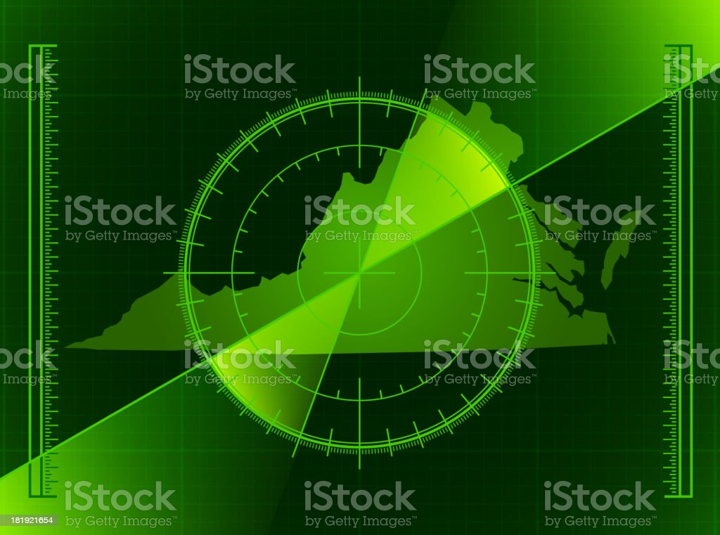 Green Radar Screen and Virginia State Map royalty-free stock vector art