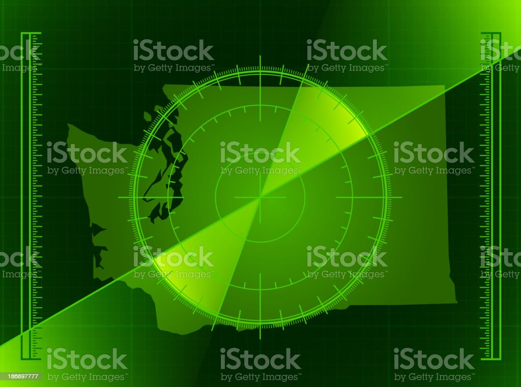 Green Radar Screen and Washington State Map royalty-free stock vector art