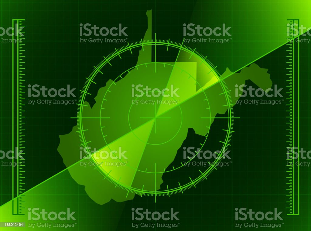 Green Radar Screen and West Virginia State Map royalty-free stock vector art