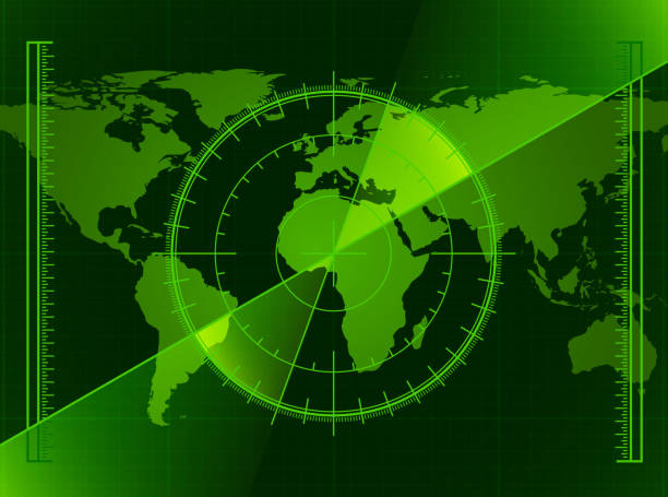 Green Radar Screen and World Map Green Radar Screen and World Map pattern stock illustrations