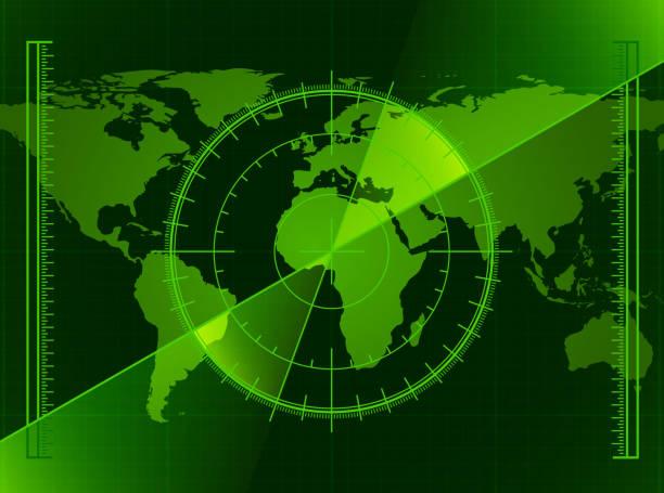 Green Radar Screen and World Map Green Radar Screen and World Map coordination stock illustrations