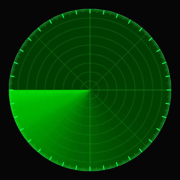green radar screen, circular 360 degree scale, vector template active scanning radar sonar - radar stock illustrations