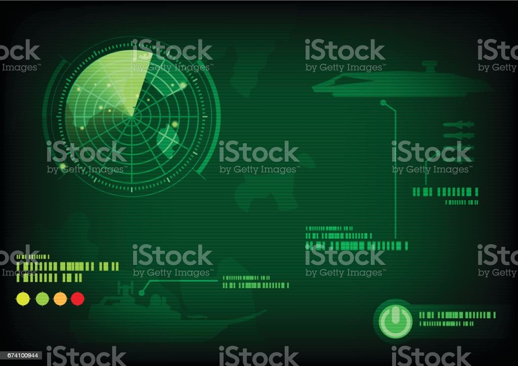 Green radar screen vector art illustration