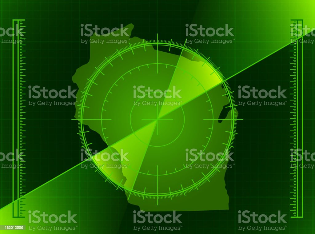 Green Radar Screen Wisconsin and State Map royalty-free stock vector art