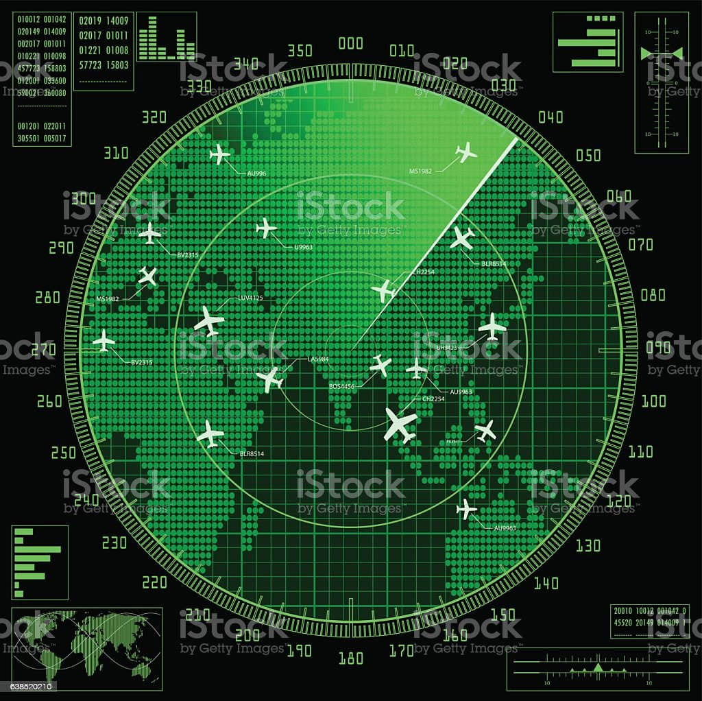 Green radar screen with planes and world map vector art illustration