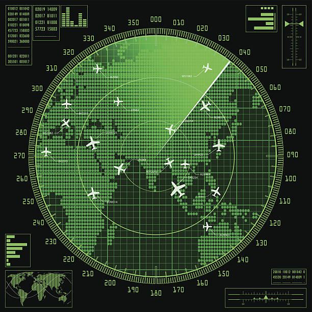 green radar screen with planes and world map - radar stock illustrations