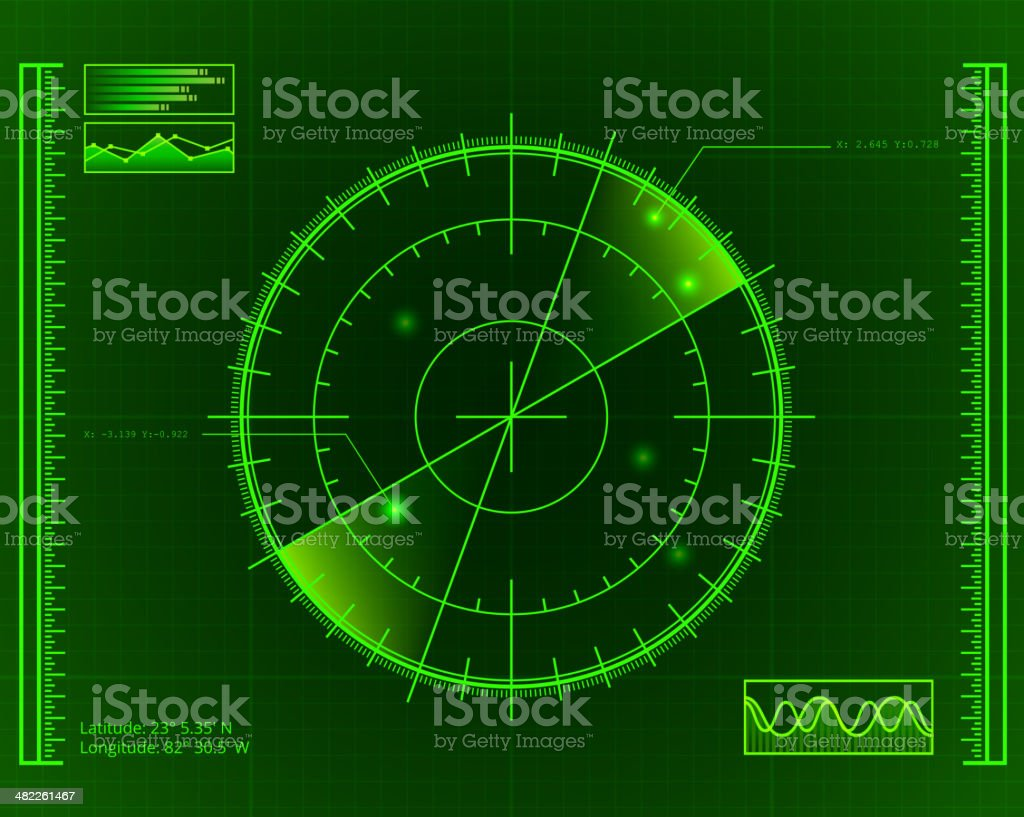 Green Radar Screen with Targets vector art illustration