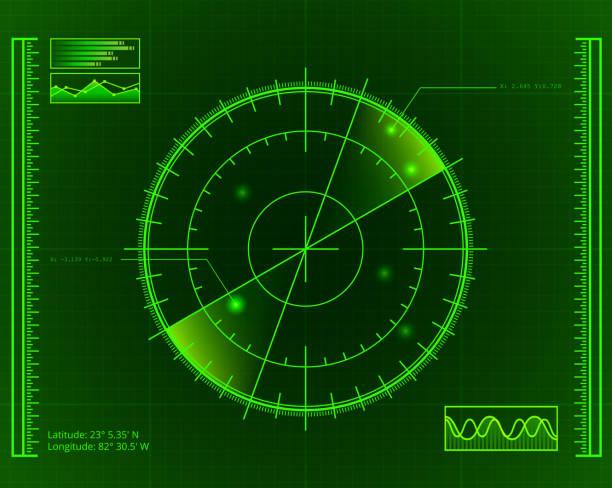 green radar screen with targets - radar stock illustrations