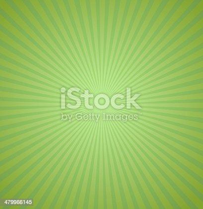 Green rays background. Burst Vector illustration