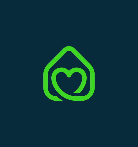 Green Real Estate Icon with Heart vector art illustration