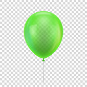 Green realistic balloon. Green ball isolated on a transparent background for designers and illustrators. Balloon as a vector illustration