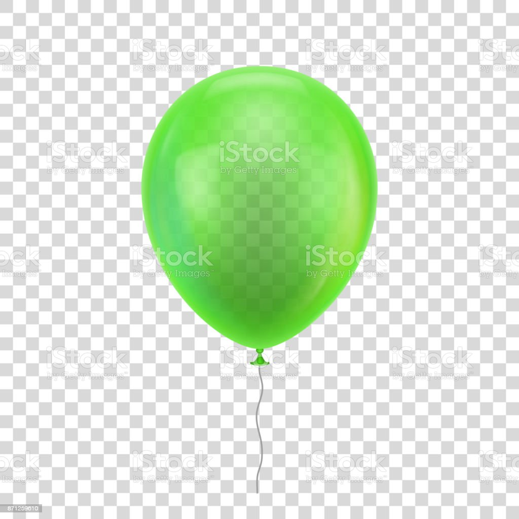 Green realistic balloon. vector art illustration