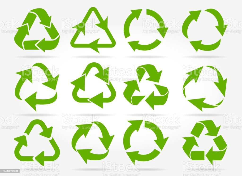 Green recycle arrow icons royalty-free green recycle arrow icons stock illustration - download image now