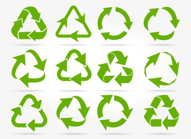 green recycle arrow icons - recycling stock illustrations