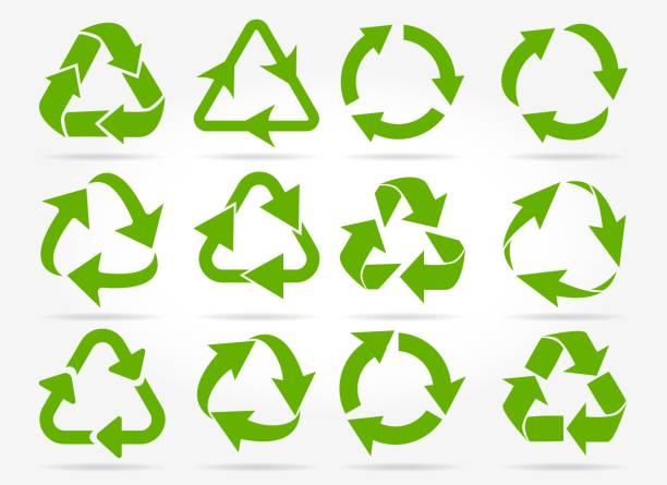 pfeilsymbole grüne recycling - recycling stock-grafiken, -clipart, -cartoons und -symbole