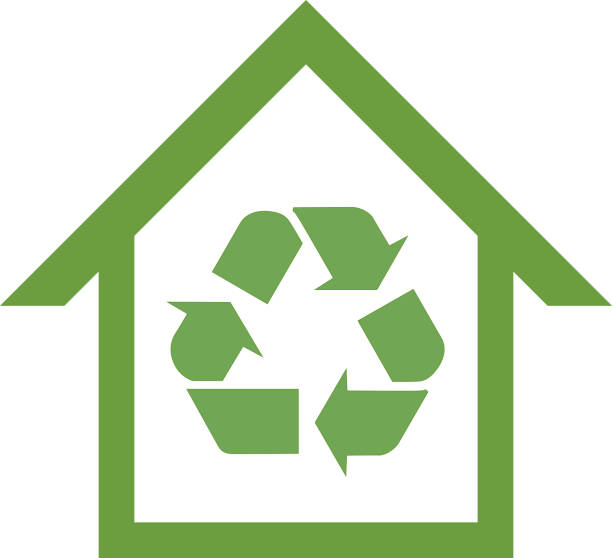 bildbanksillustrationer, clip art samt tecknat material och ikoner med gröna återanvända house ikonen - recycling heart