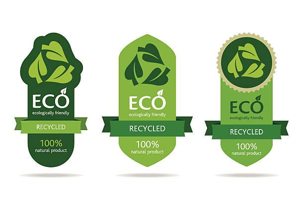 Green recycle label advertisement vector art illustration