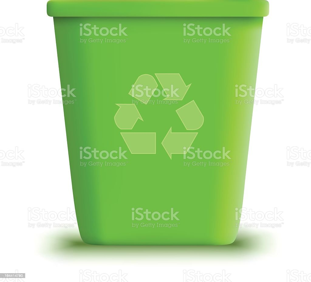 Green recycling garbage can in white background vector art illustration