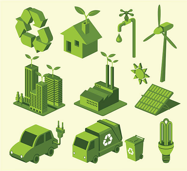 Green recycling icons against cream background A set of recycling icons. Zip contains AI and PDF formats. solar panels illustrations stock illustrations