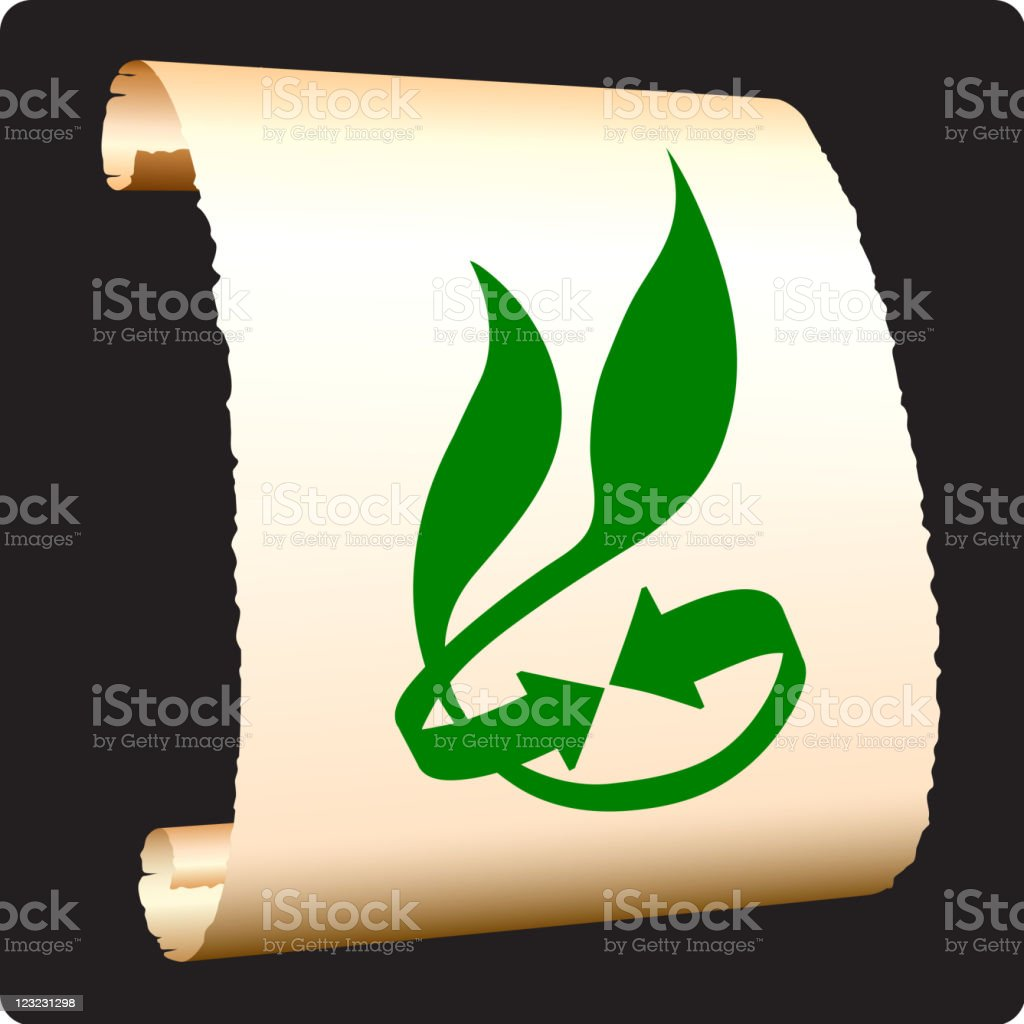 green recycling on paper scroll royalty-free stock vector art