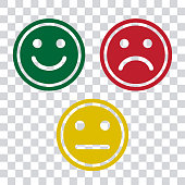 Green, red and yellow smileys emoticons icon on transparent background. Positive, negative and neutral, different mood. Vector illustration
