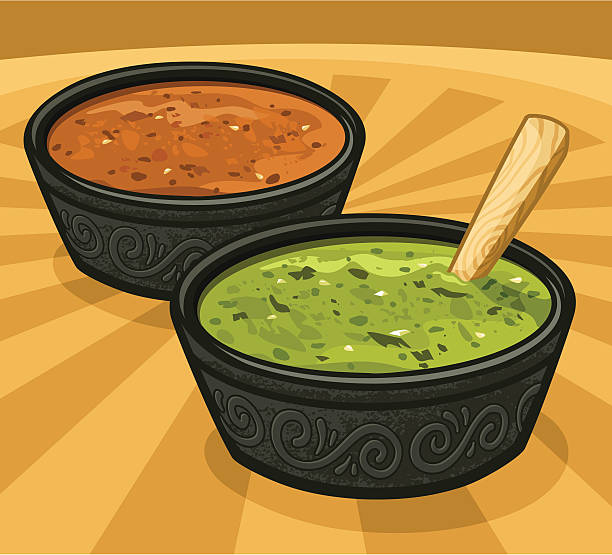 Green & Red Salsas (hot spicy sauces) vector art illustration
