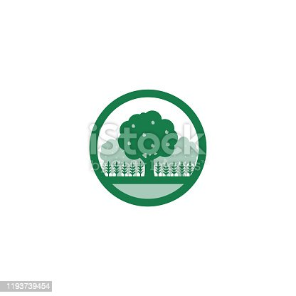 istock Green Regenerative Vector Illustration of Permaculture Food Forest 1193739454
