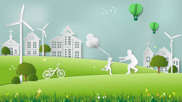 Green renewable energy ecology technology power saving environmentally friendly concepts, daughter running to father in meadow which full of wind turbine vector art illustration