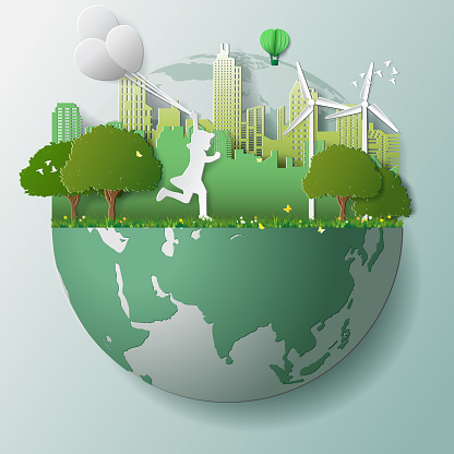 Green renewable energy ecology technology power saving environmentally friendly concepts, girl run and hold balloons in parks near city on globe clipart