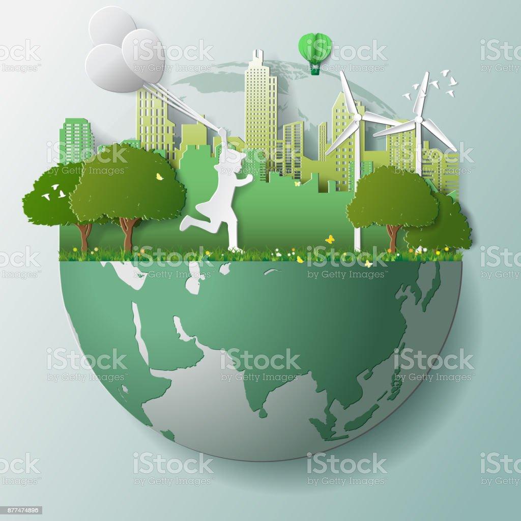 Energias renováveis ecologia tecnologia de economia de energia conceitos ambientalmente amigáveis, execução de garota de verde e segurar balões em parques perto cidade na globo - ilustração de arte em vetor