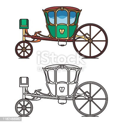 Green retro buggy or king horse vehicle. Vintage chariot for queen or old cab for princess. Contour of dormeuse or outline of clarence, brougham wagon icon. Romantic wedding or marriage transport
