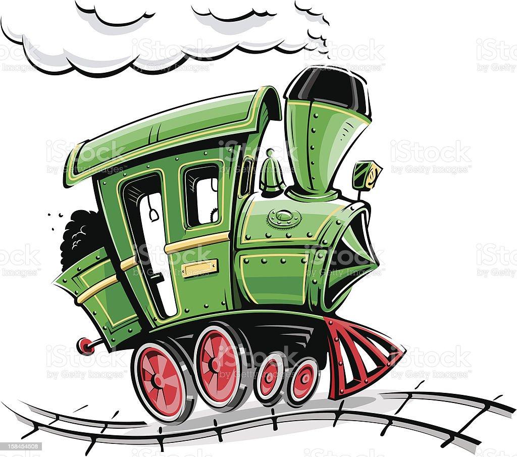 green retro cartoon locomotive vector art illustration