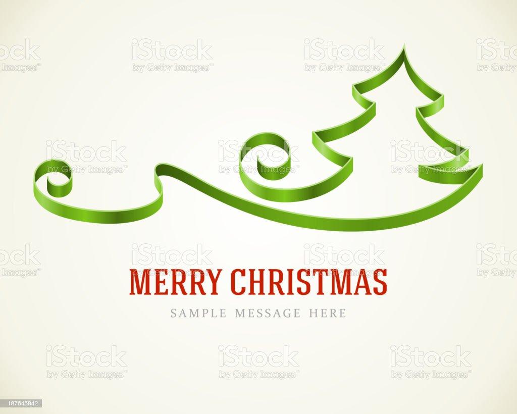 Green ribbon Christmas tree greeting card vector royalty-free stock vector art