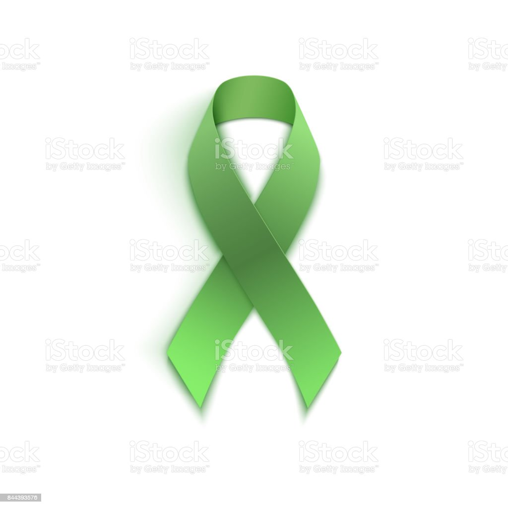 Green ribbon isolated on white. vector art illustration