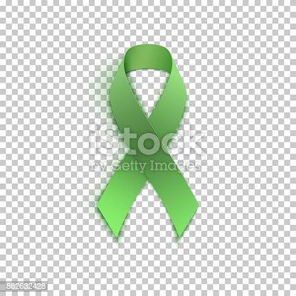istock Green ribbon on transparent background. 862632428