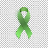Green ribbon on transparent background.