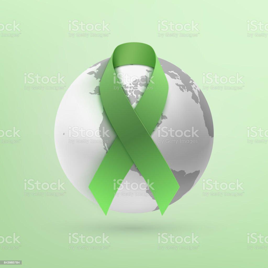 Green ribbon with monochrome earth icon. vector art illustration