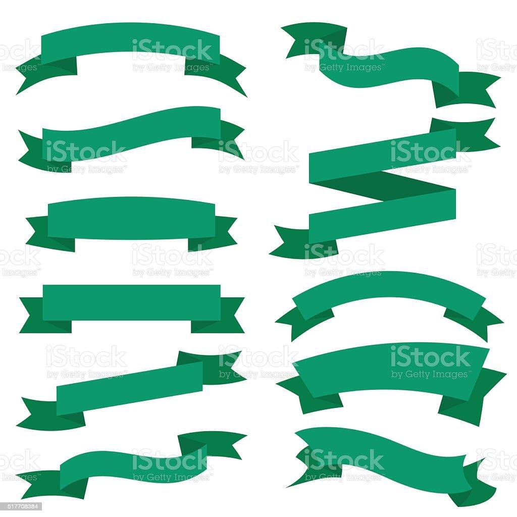 Green Ribbons Set isolated On White Background. Vector Illustration vector art illustration